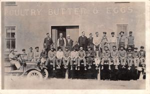 Chariton IA Hooper Cash Grocers: Poultry Butter & Eggs~Worker's Break~RPPC 1940s