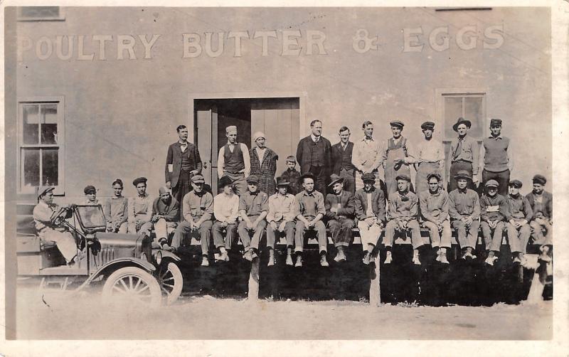 Chariton IA Hooper Cash Grocers: Poultry Butter & Eggs~Worker's Break~RPPC 1940s