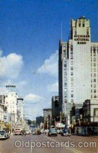 Saginaw Street With Michigan National Bank, Flint, MI USA Bank 1957 postal us...