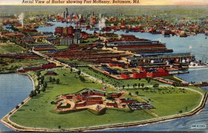 Maryland Baltimore Aerial View Of Harbor Showing Fort McHenry Curteich