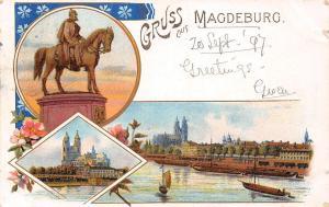 Deutschland Gruss aus Magdeburg, Statue, Monument, flowers, ships 1897