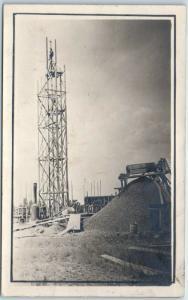 1910s RPPC Real Photo Postcard CONSTRUCTION SCENE Steam Engine Rail Car Unused