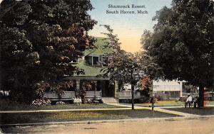 South Haven MI Men Under Tree~Girls on Bench~Shamrock Resort 1913
