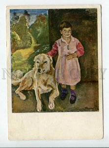 3167506 RUSSIA Girl Katinka & Dog by KONCHALOVSKY vintage PC