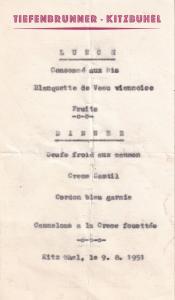 Tiefenbrunner Kitzbuhel Hotel Lunch Dinner Menu 1951 Ephemera