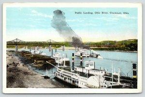 Cincinnati Ohio~Ohio River~Public Landing~Steamboats~Bridge Background~1920s