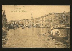 Postmarked 1909 Hotel Jolanda Venezia Italy Canal Grande & Ponte di Rialto Postc