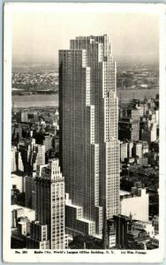 1934 New York City RPPC Postcard Radio City, World's Largest Office Building