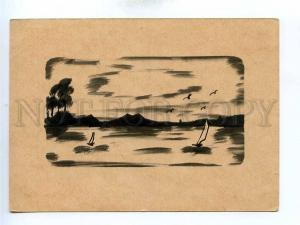 195782 GERMANY birds & boats silhouette hand paint postcard