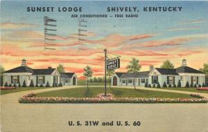 Shively Kentucky~Sunset Lodge~1950 Postcard