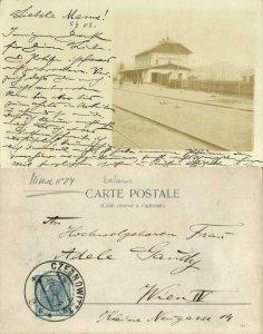 belarus russia, MIKULICZY, Railway Station (1903) RPPC Postcard