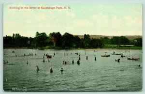 Sacandaga Park New York~Bathing-Boating in River~1911 Postcard