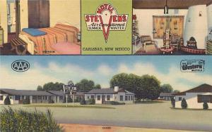 CARLSBAD, NM New Mexico    MOTEL STEVENS   Multiview  c1940s  Roadside  Postcard