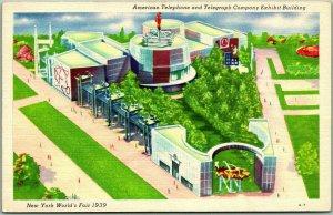 1939 New York World Fair Official Postcard AT&T Company Exhibit Building Linen
