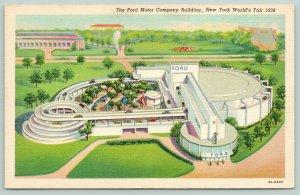 New York City~1939 Worlds Fair~Ford Motor Company Bldg~ART DECO Linen Postcard