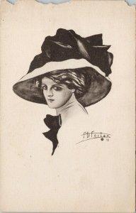 Woman with Hat FD Foster Art J. Raymond Howe Co Postcard G11 *as is