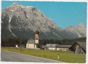 Leutasch, Kirchplatzl gegen Hohe Munde, 2662 m, Tirol, Austria, used Postcard