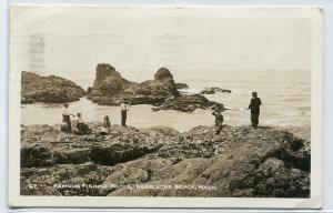 Famous Fishing Rocks Long Beach Washington 1937 RPPC Real Photo postcard