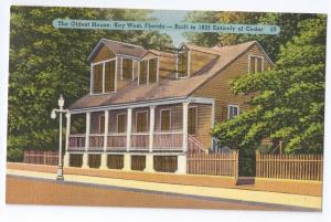 Oldest House Key West Florida Vintage Linen Postcard