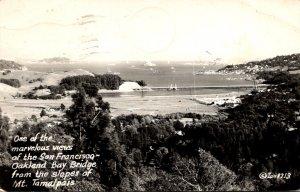 California San Francisco-Oakland Bay Bridge From Mount Tamalpais Real Photo