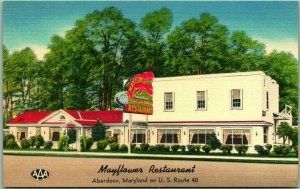 Aberdeen, Maryland Postcard MAYFLOWER RESTAURANT Highway 40 Roadside c1950s