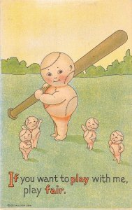 LP62  Baseball Game Comic Sports Fantasy Vintage Postcard Bat Fan-Ie Series