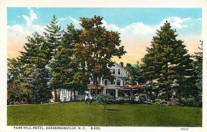 RPPC,HENDERSONVILLE, NC North Carolina    PARK HILL HOTEL,,  c1920s  Postcard