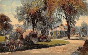 Torrington Connecticut~Coe Park Boulder~Kids on Bench~Homes Around Curve~1912