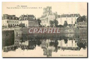 Postcard Old Rennes Place de Mission and Tours of the cathedral