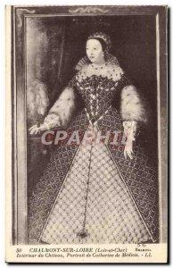 Old Postcard Chaumont Sur Loire Interieur du Chateau Portrait of Catherine de...