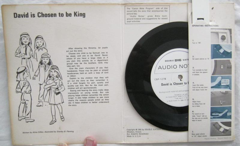 Vintage David Is Chosen King Canon Bible Program For GE Show N Tell 1966