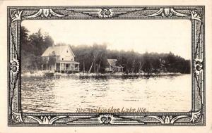 Messalonskee Lake Maine Waterfront Real Photo Antique Postcard K78815