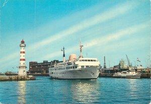 Post card Sweden Malmo harbor sailing vessel
