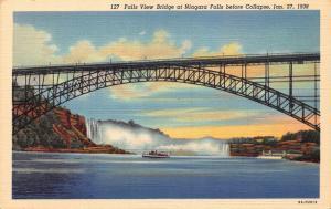 Falls View Bridge Niagara Falls before Collapse 1938 postcard