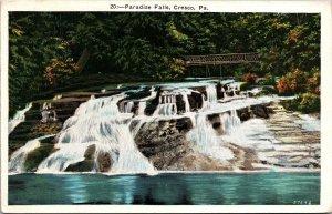 Postcard PA Pennsylvania Paradise Falls Cresco Bridge Posted 1935