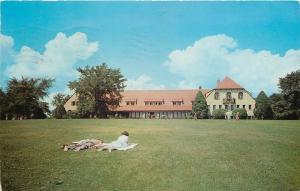 Angola Indiana~Pokagon State Park~Potawatomi Inn~Folks Laying on Lawn~1952