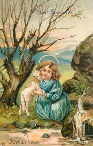 Easter Child Hugs Little Lamb by Rocky Stream~Stark Tree~Emboss~Germany~EAS~1909
