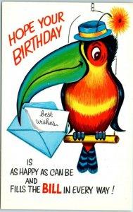 Vintage 1950s BIRTHDAY Greetings Postcard Toucan Bird Comic Religious Scripture