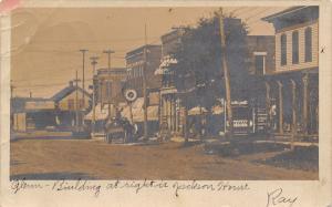 North Amherst OH~Main St~Jackson House~Tinner E S Smith Hardware~RPPC 1909 DPO
