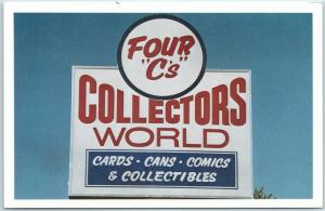 Des Moines, Iowa Postcard Four C's Collector's World Baseball Cards Comics