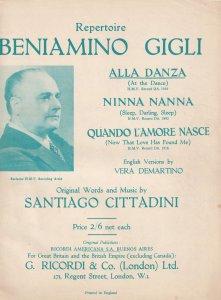Beniamino Gigli Alla Danza Ninna Nanna Classical Sheet Music