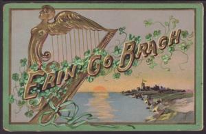 Erin Go Bragh,Harp,Scene Postcard