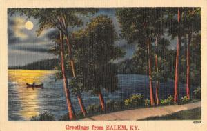 Salem Kentucky Moonlight Waterfront Greeting Antique Postcard K97385