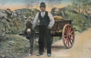 Ireland Man Going To Market With Donkey & Cart Tucks Irish Life Series