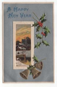 Vintage  New Year Greetings Post Card,  Bridge to Town in Winter, Gold Bells