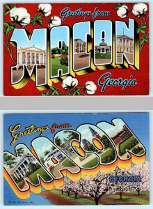 2 Large Letter Linens  Greetings from MACON, GEORGIA GA c1940s  Postcards