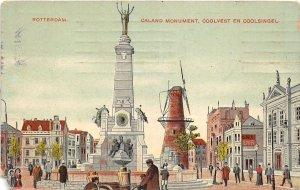 Lot 61 rotterdam netherlands postcard caland monument coolvest en coolsingel