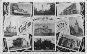 Grafton ND~Hill Street~Churches~Hospital~Insane Asylum~Feeble Minded~1909 RPPC