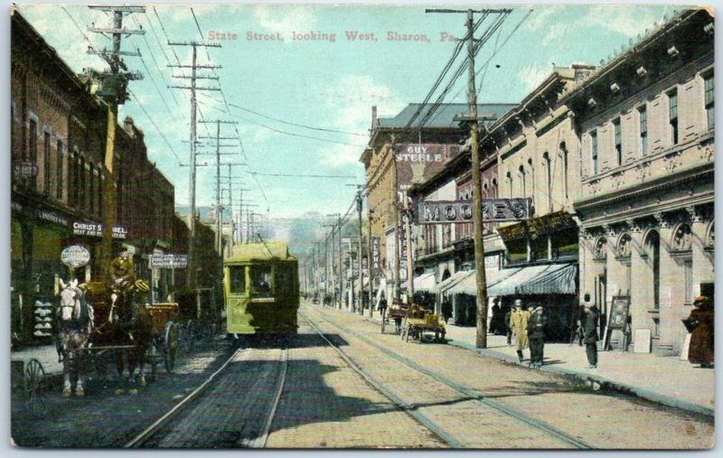 Sharon, Pennsylvania Postcard STATE STREET Downtown Scene w/ Trolley Dated 1911