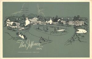 Charlottesville Virginia~Thos Jefferson Inn~Circle Drive~Artist Drawing~1959